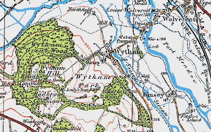 Old map of Wytham in 1919