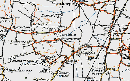 Old map of Wyverstone in 1920