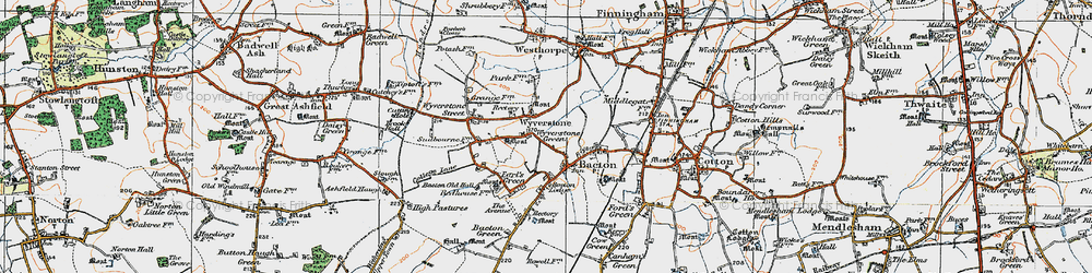 Old map of Wyverstone Green in 1920