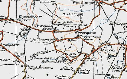 Old map of Wyverstone Street in 1920