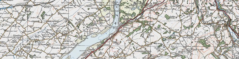 Old map of Y Felinheli in 1922