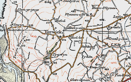 Old map of Y Ferwig in 1923