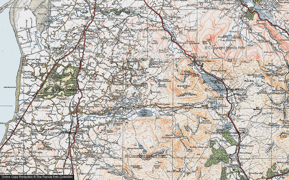 Old Map of Historic Map covering Afon Drws-y-coed in 1922