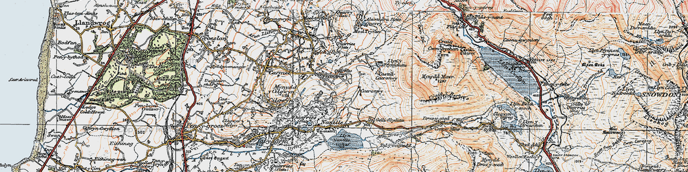 Old map of Afon Drws-y-coed in 1922