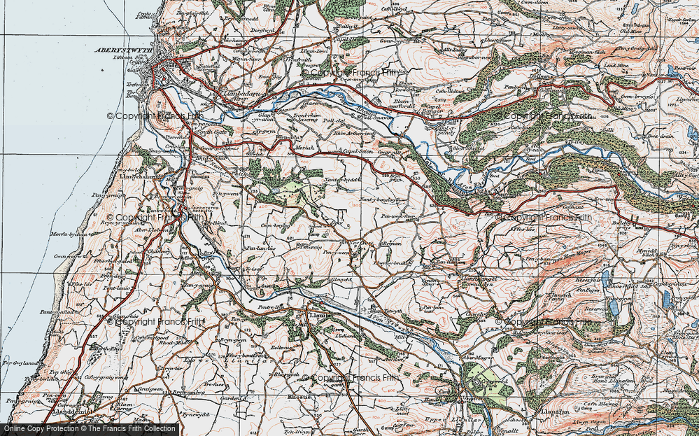 Old Map of Historic Map covering Gilfach goch in 1922
