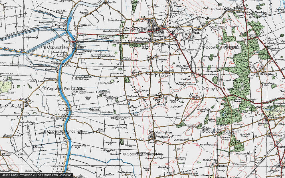 Old Map of Historic Map covering Ashby Decoy in 1923