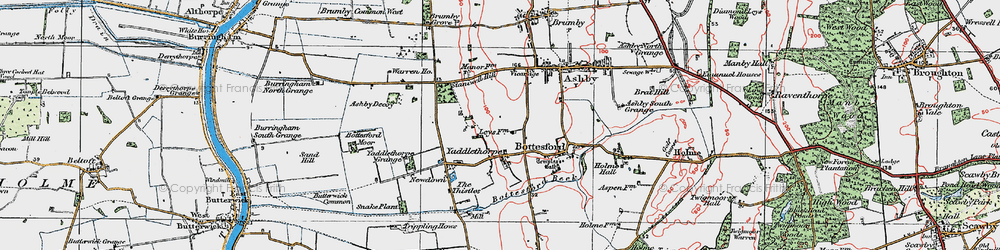 Old map of Yaddlethorpe in 1923