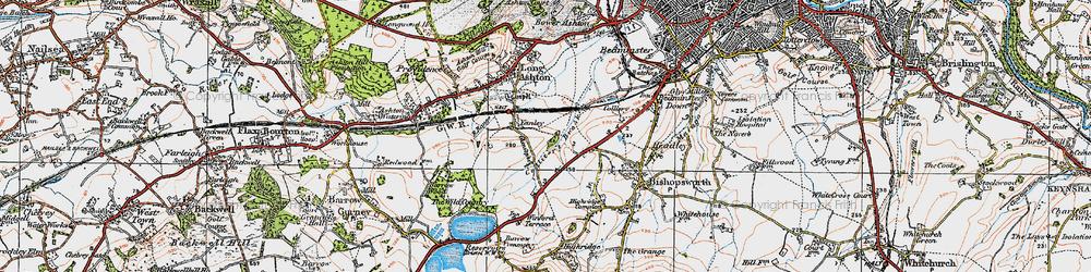 Old map of Yanley in 1919