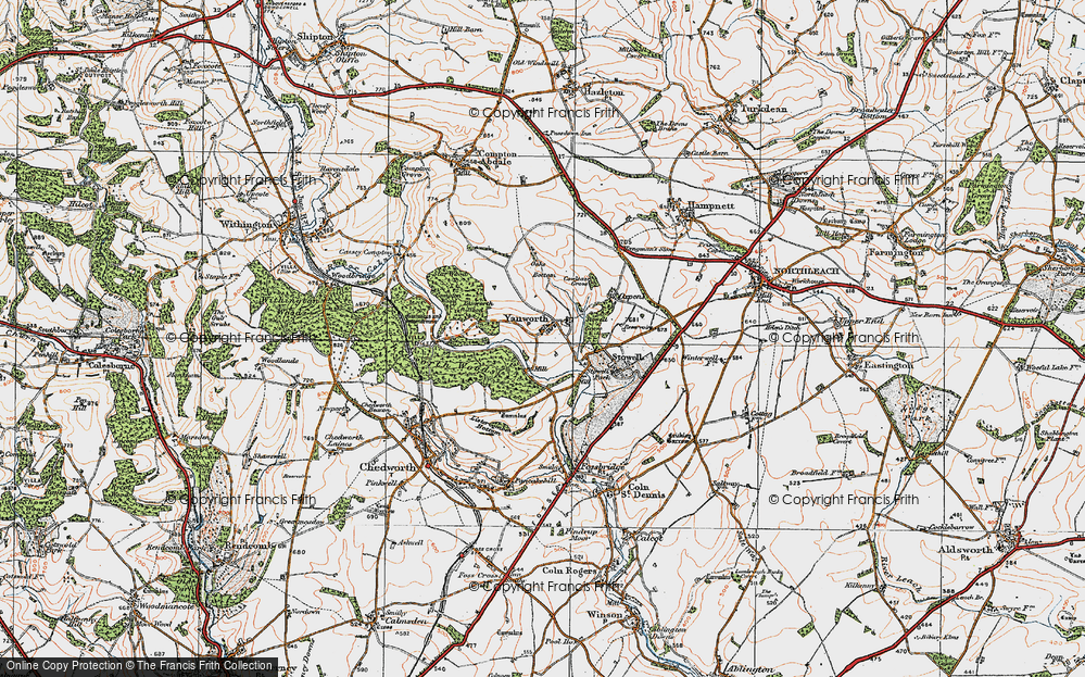 Old Map of Yanworth, 1919 in 1919