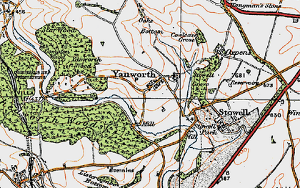 Old map of Yanworth Wood in 1919