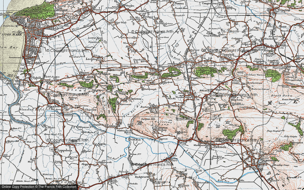 Old Map of Historic Map covering Banwell Hill in 1919