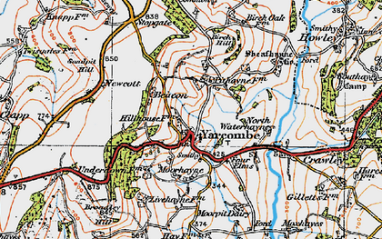 Old map of Yarcombe in 1919