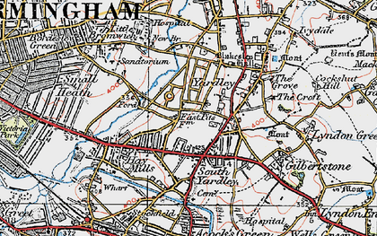 Old map of Yardley in 1921