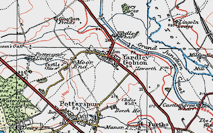 Old map of Yardley Gobion in 1919