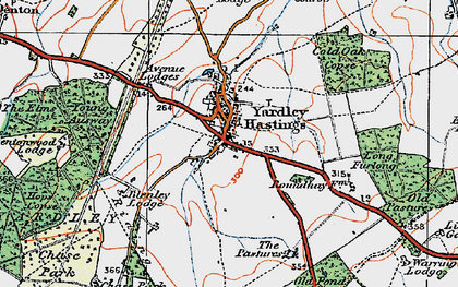 Old map of Yardley Chase in 1919