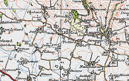 Old map of Yarford in 1919