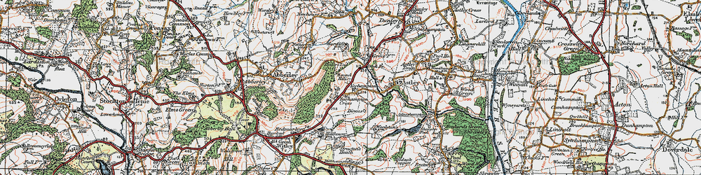 Old map of Abberley Hill in 1920