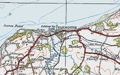 Old map of Yarmouth in 1919