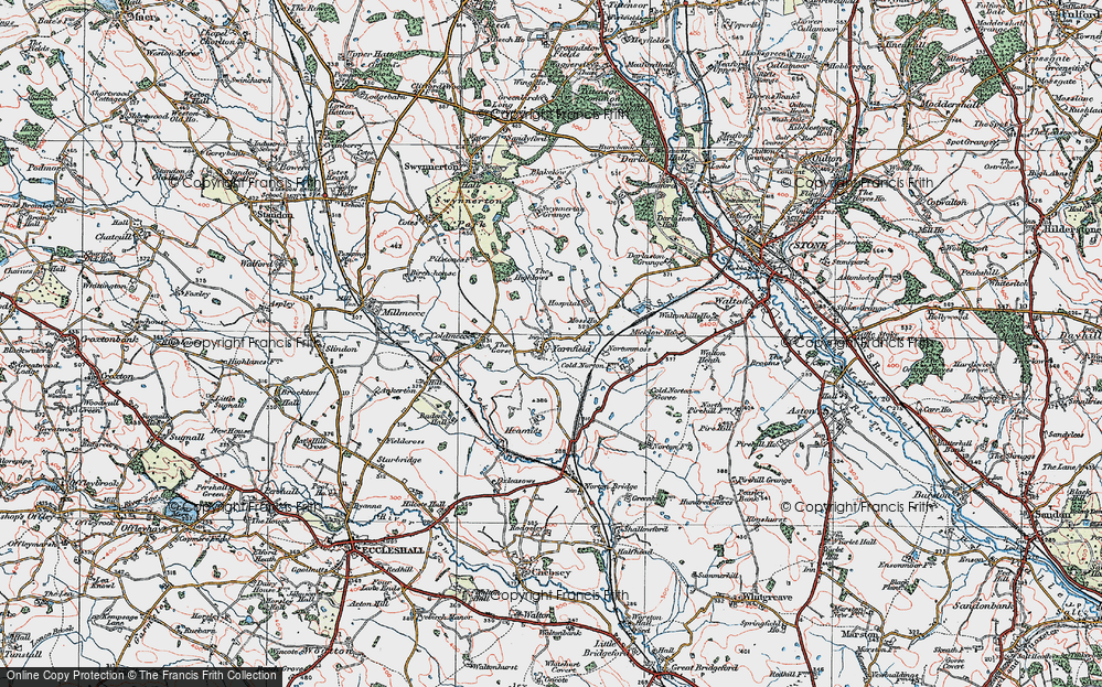 Old Map of Yarnfield, 1921 in 1921