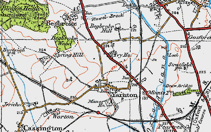 Old map of Yarnton in 1919