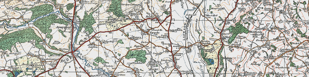 Old map of Yarpole in 1920