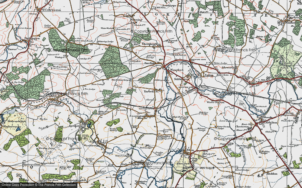 Old Map of Yarwell, 1922 in 1922