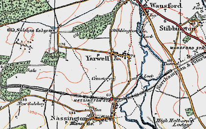 Old map of Yarwell Junction Sta in 1922