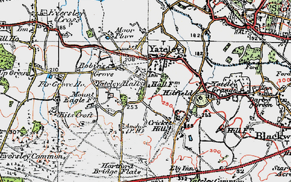 Old map of Yateley in 1919