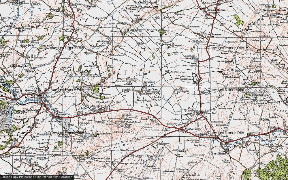 Old Map of Yatesbury, 1919 in 1919