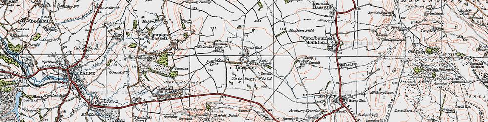 Old map of Yatesbury in 1919