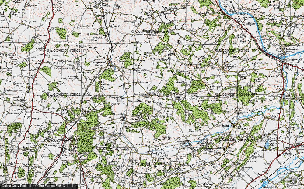 Old Map of Yattendon, 1919 in 1919