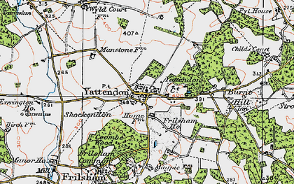 Old map of Yattendon in 1919
