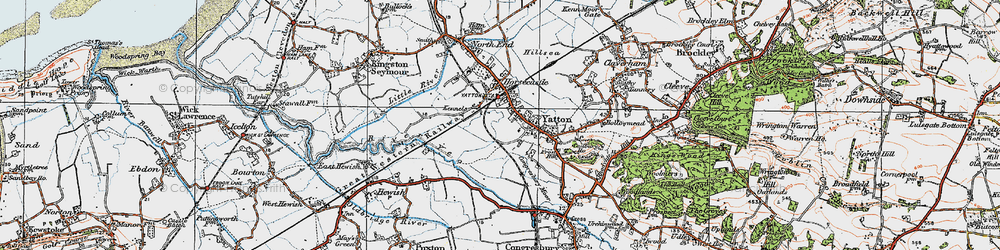 Old map of Yatton in 1919