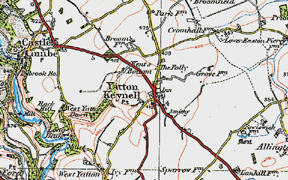Old map of Yatton Keynell in 1919