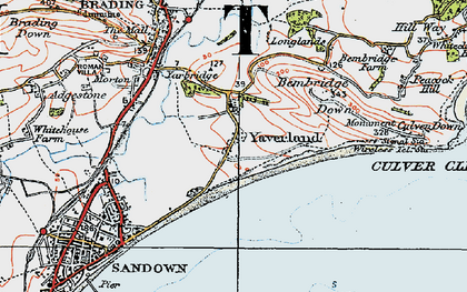 Old map of Yaverland in 1919