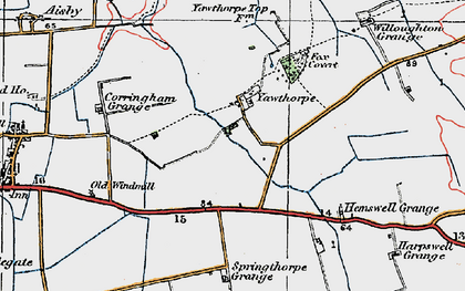 Old map of Willoughton Grange in 1923