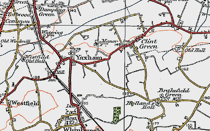 Old map of Yaxham in 1921