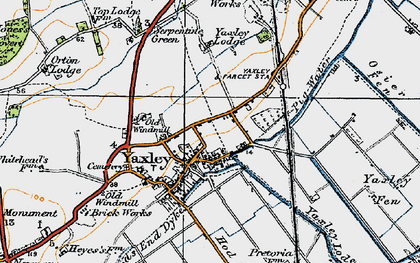 Old map of Yaxley in 1920
