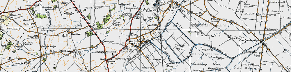 Old map of Yaxley Lode in 1920
