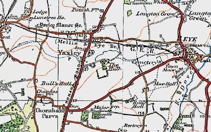 Old map of Yaxley in 1921