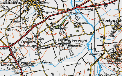 Old map of Yeabridge in 1919