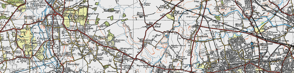 Old map of Yeading in 1920