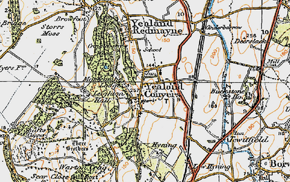 Old map of Yealand Conyers in 1925
