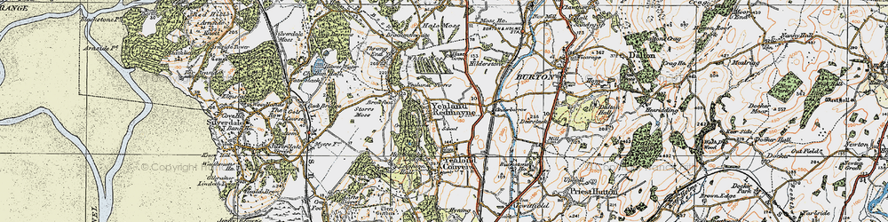 Old map of Yealand Redmayne in 1925