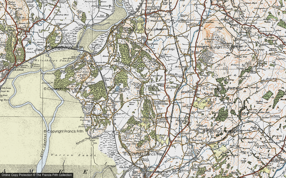 Old Map of Historic Map covering Leighton Beck in 1925