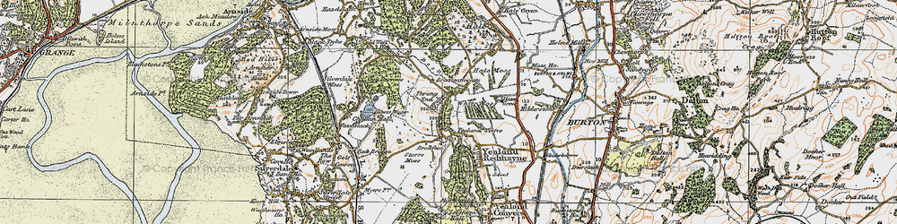 Old map of Yealand Storrs in 1925