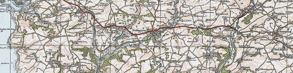 Old map of Yealmpton in 1919