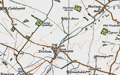 Old map of Yelden in 1919