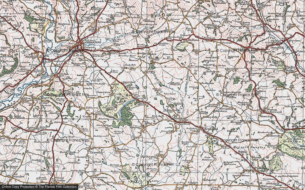 Old Map of Yeldersley Hollies, 1921 in 1921