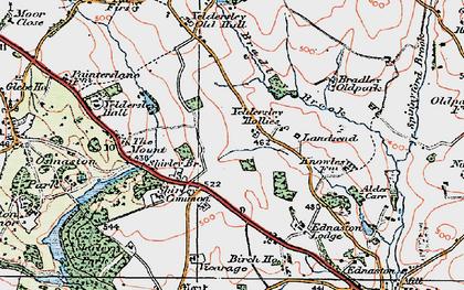 Old map of Yeldersley Hollies in 1921